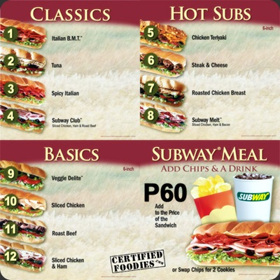 Subway complete menu - CertifiedFoodies.com