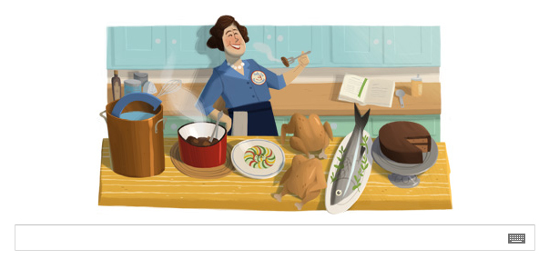 Google Doodle for Julia Child's 100th Birthday