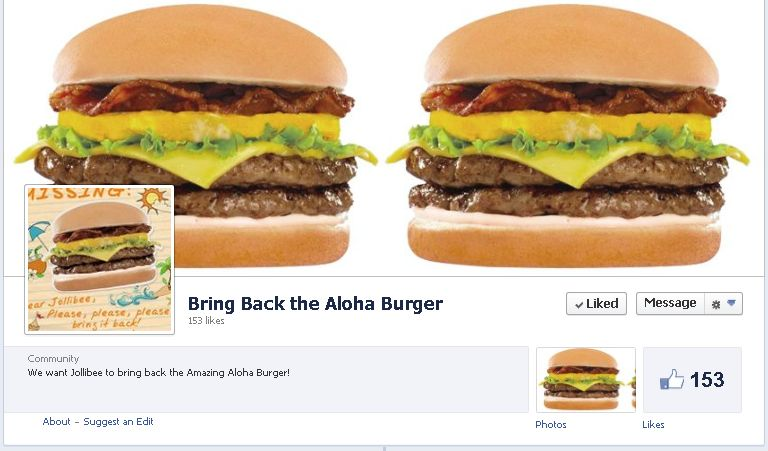 Bring Back the Aloha Burger movement on Facebook