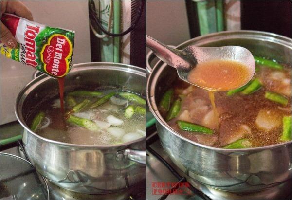 Adding Del Monte tomato sauce to pork sinigang