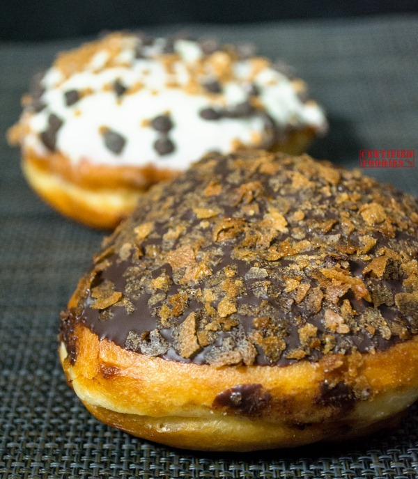 Krispy Kreme Speculoos Dark Chocolate Vanilla Cookie Butter doughnut - closeup