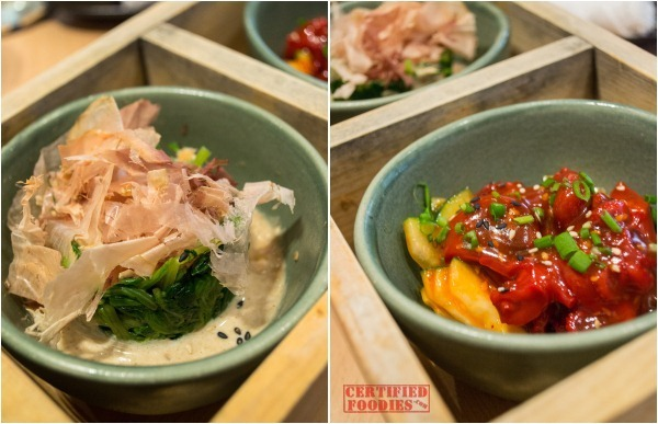 Yabu - Spinach Salad with Goma Sauce and Iidako Salad
