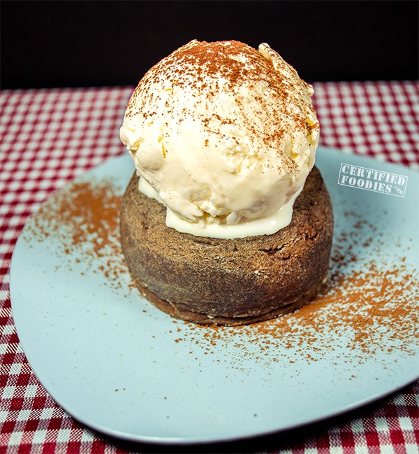 A big scoop of vanilla ice cream on top of our Molten Chocolate Cake aka Chocolate Lava Cake