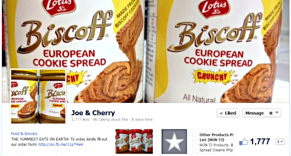 Joe and Cherry's online store on Facebook