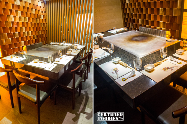Teppanyaki tables on the second floor of Wafu Greenhills