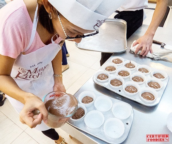 Preparing the chocolate cupcakes