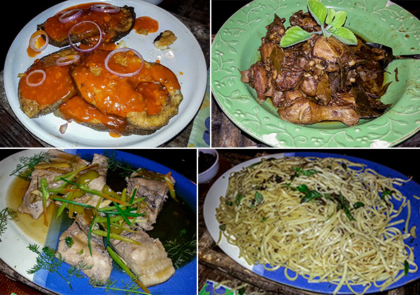 Dinner dishes at Bohol Bee Farm