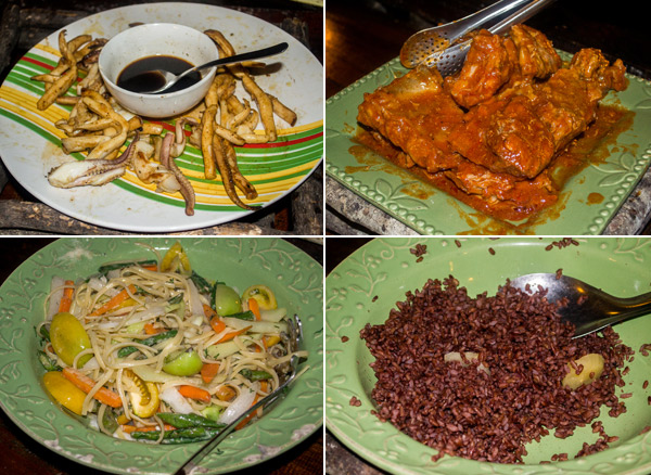 Red rice, grilled squid, chicken and pasta at Bohol Bee Farm