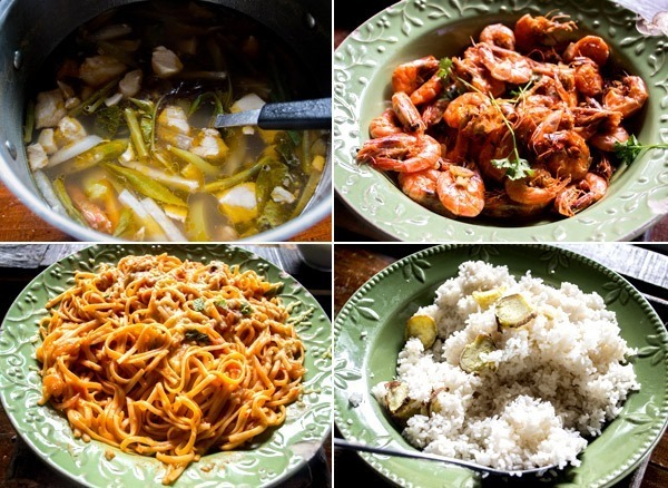 Seafood soup, shrimps, camote rice and pasta at Bohol Bee Farm