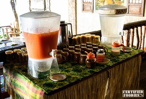 Unlimited fresh juice, water, coffee and tea