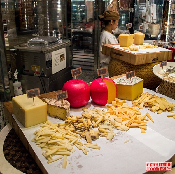 A wide variety of cheeses at Spiral's Cheese Room