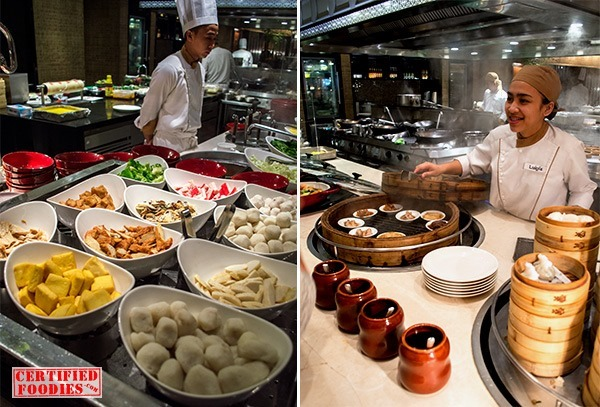 Chinese cuisine stations at Spiral's buffet