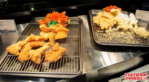 Fried dishes include pork and fish katsu, and shrimp tempura