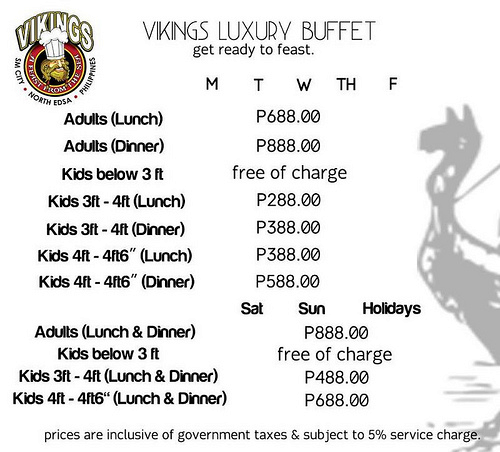 Vikings Buffet Prices