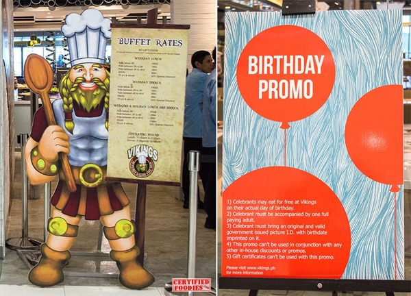 Vikings Buffet prices and Birthday Promo