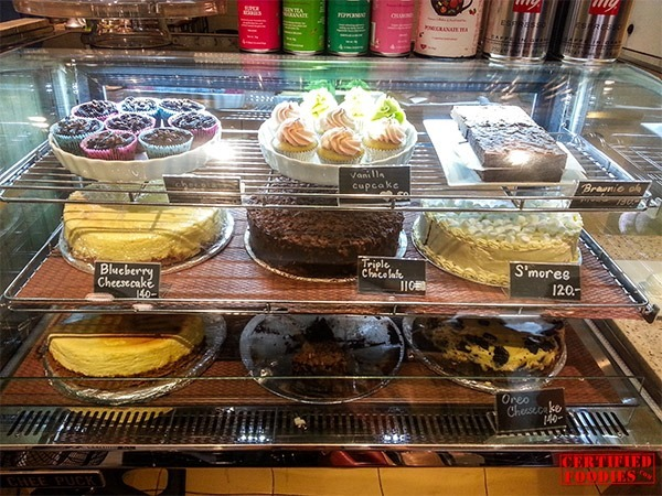 Cake display at Cups and Cones