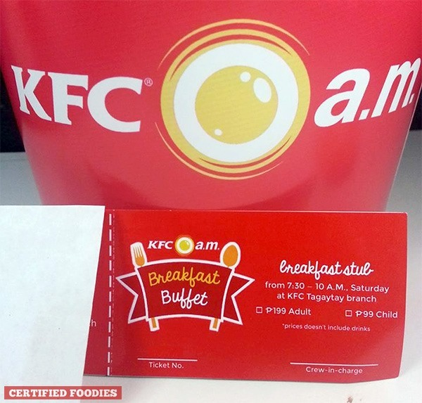 KFC Breakfast Buffet tickets