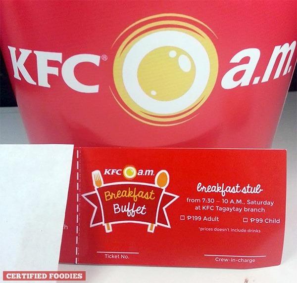 KFC Breakfast Buffet tickets