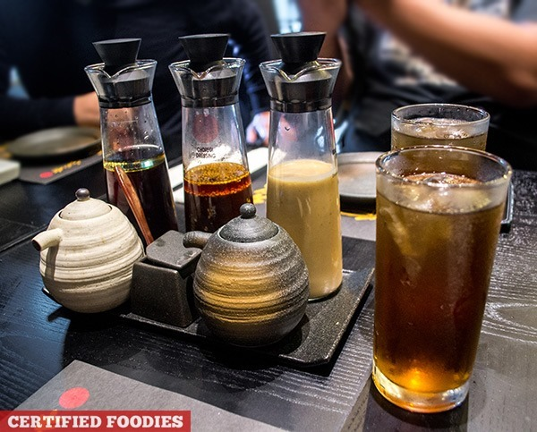 Salad Dressing Sauces and Free Tea at Kimukatsu