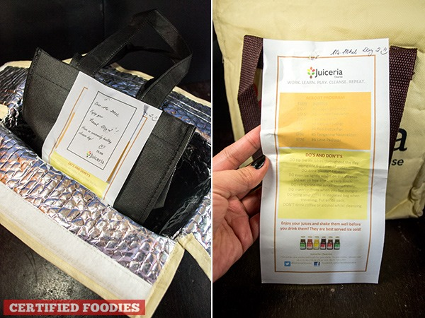 Juiceria Cleanse includes a paper guide or reminder along with the bags