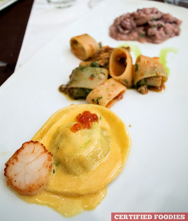 Raviolone with diver scallop, Calamarata with red Sicilian pesto and seafood, Risotto