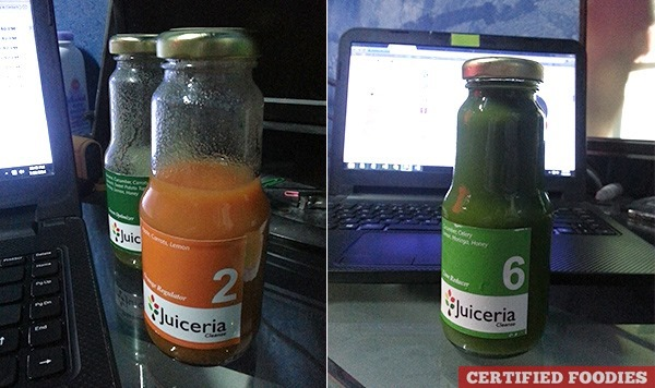 Sipping my Juiceria Cleanse juices while working