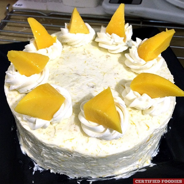 Mango Buttercream Cake made using a microwave oven