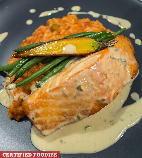 Grilled Salmon with asparagus risotto, roasted veggies,  caper cream sauce[2]