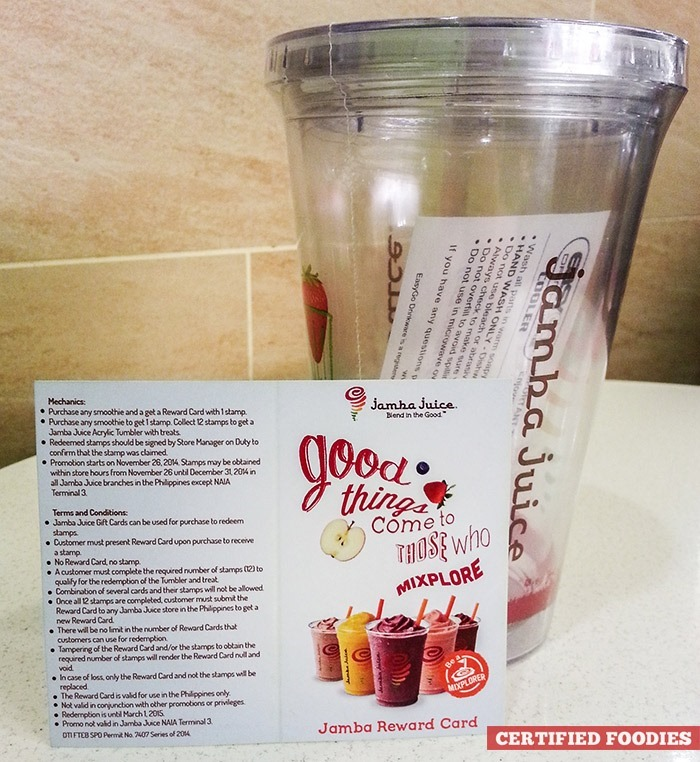Jamba Juice acrylic tumbler - prize after completing the reward card
