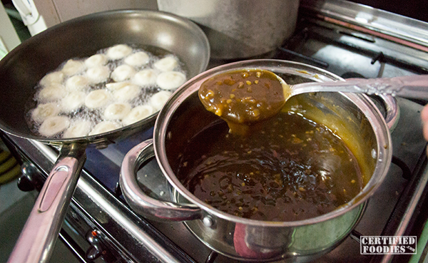Fry the fishballs while waiting for the sauce to thicken up