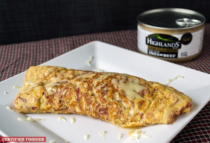 Highlands Gold Corned Beef and Cheese Omelet recipe