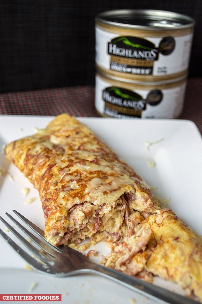 Highlands Gold Corned Beef and Cheese Omelet with generous amounts of Angus beef