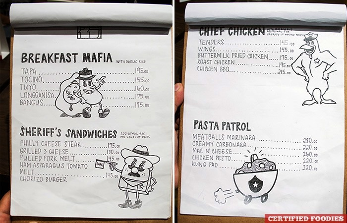 Cops and Robbers Kid Friendly Menu