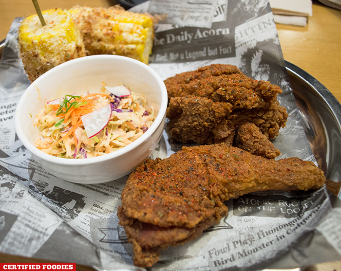 Bad Bird Fried Chicken with Corn on the Cob at Hole in the Wall Century City Mall