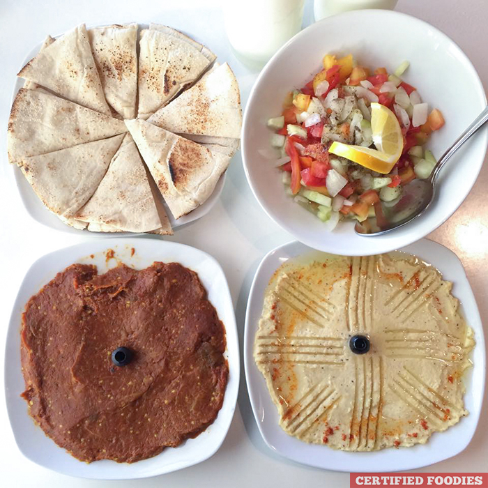 Mirza Ghasemi Pita Bread Hummus Salad Shirazi - Dweet Gastropub