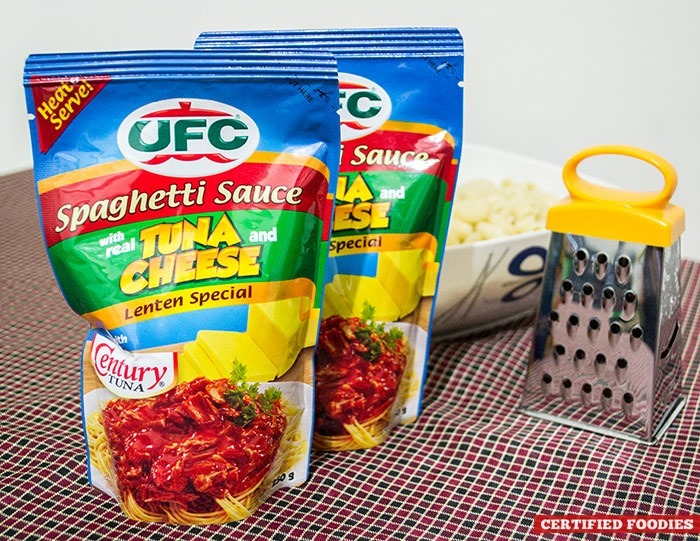 UFC Spaghetti Sauce with real Century Tuna and Cheese, a Lenten Special