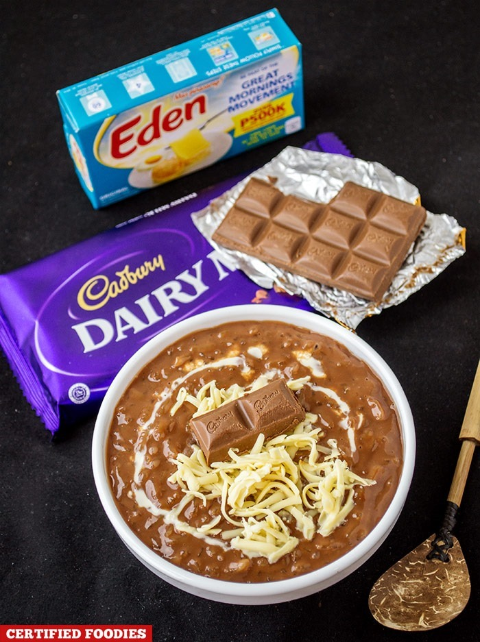 Champorado made with Cadbury Dairy Milk Chocolate and Eden Cheese