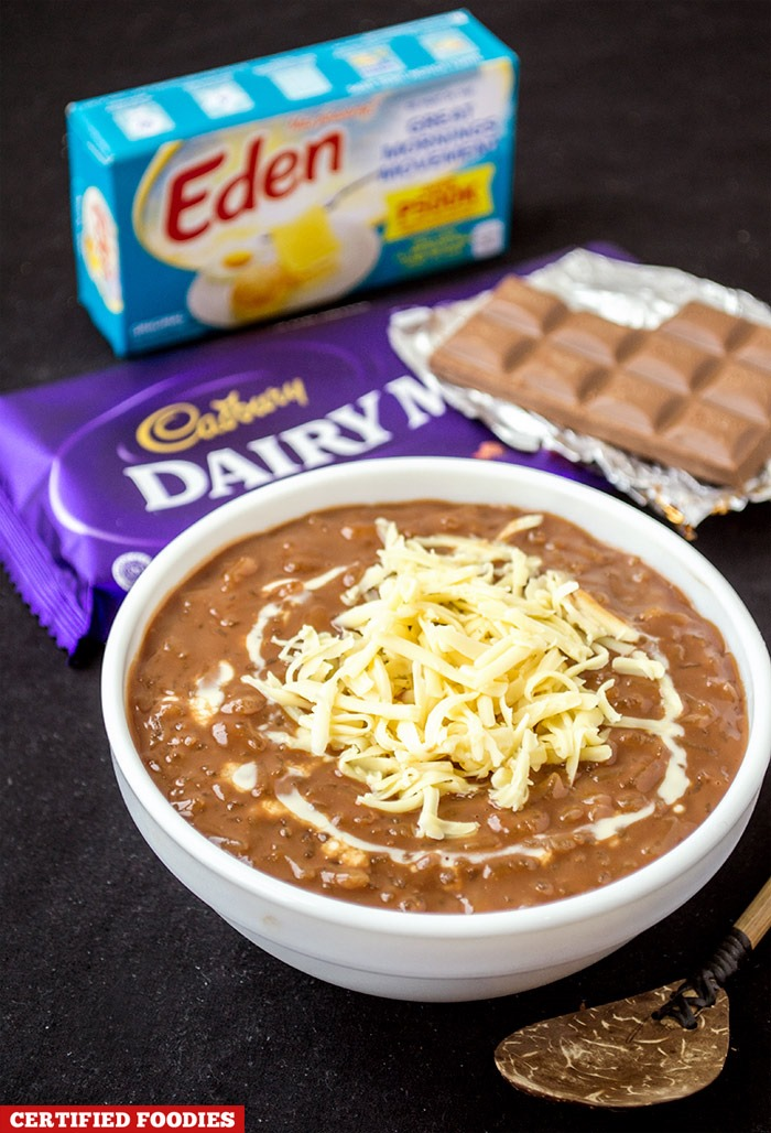 Champorado with Cadbury Dairy Milk Chocolate and Eden Cheese