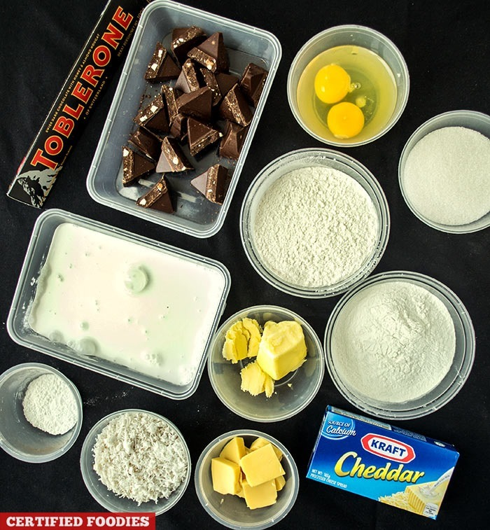 Ingredients for Bibingka with Toblerone Dark Chocolate and Kraft Cheddar Cheese