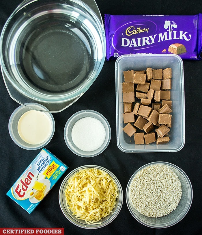 Ingredients for Champorado with Cadbury Dairy Milk Chocolate and Eden Cheese