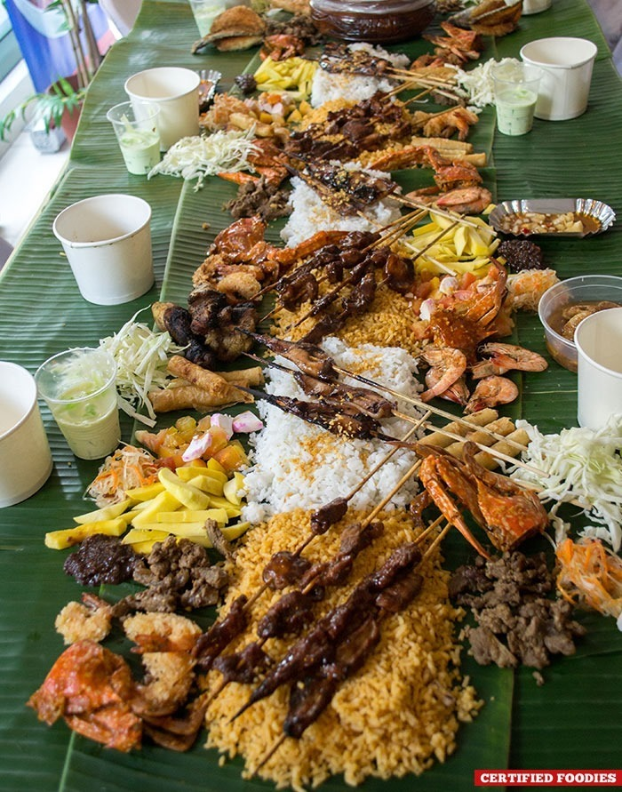 Our Clara Ole Potluck Fiesta Boodle Fight food