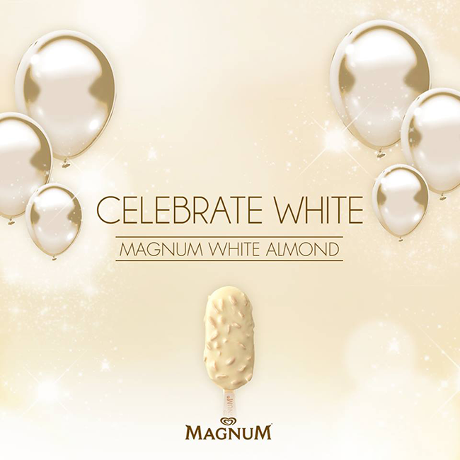 CelebrateWhite with the Magnum White Almond ice cream