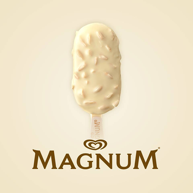 Magnum White Chocolate Almond - with white Belgian chocolate coating with almond pieces, and vanilla ice cream inside