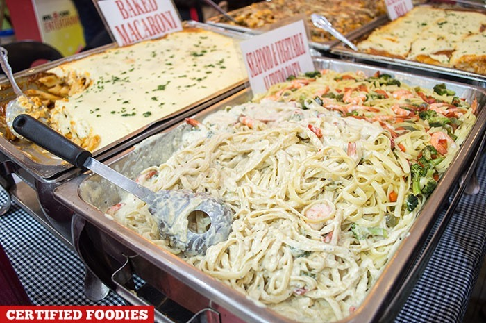 Chicago Pizza & Pasta's Seafood and Vegetable Alfredo Pasta made using Alaska Crema