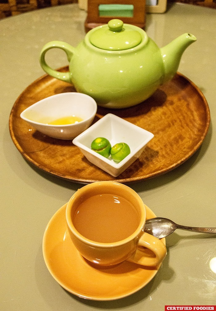 Ginger tea after our massage at Glow Spa at Club Paradise Resort in Coron, Palawan