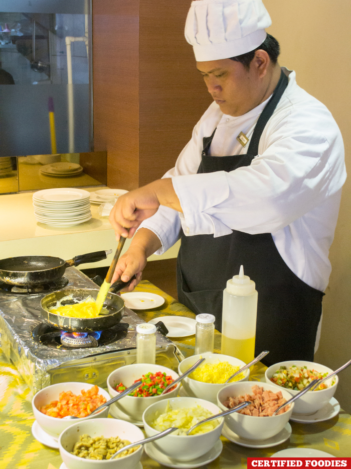 Breakfast Buffet Egg Cooking Station During at Tradisyon Restaurant in Azalea Residences Hotel Baguio City