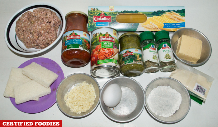 Contadina Ingredients for Spaghetti with Meatballs Recipe
